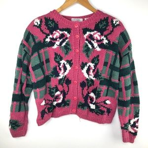 VTG Words by Paris Hand Knit Rose Cardigan Sweater